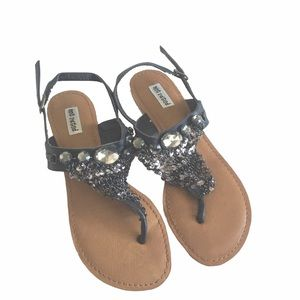 Not Rated ☻︎ Chainmail Gem Thong Sandals ☻︎ Black